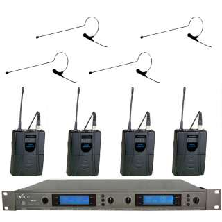 UHF 847B670B 4 Black Mini Headset Wireless Microphone System