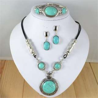 Vintage Silver Plated Turquoise Stone Necklace Bracelet Earring