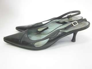 SIGERSON MORRISON Black Leather Slingbacks Pumps Sz 7.5