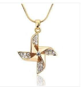 Womans Crystal Windmill Platinum Plated Elegant Pendant Necklace Free