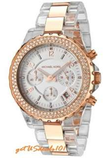 New Michael Kors Clear Acetate & Rose Gold Crystal MK5323 Womens