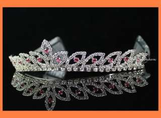 BRIDAL PINK RHINESTONE CRYSTAL TIARA CROWN HAIR COMB WEDDING JEWELRY