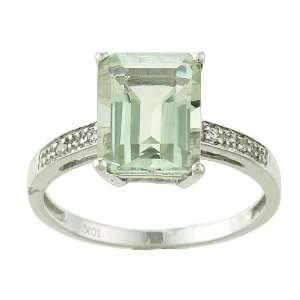 10k White Gold Emerald Cut Green Amethyst and Diamond Ring