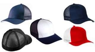 FLEX FIT 6511 TRUCKER HAT CAP HATS PLAIN BLANK BLACK