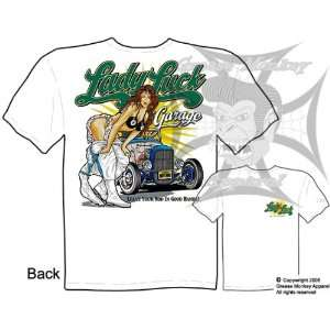 Size 3XL, Lady Luck Hot Rod Garage, 32 Ford Hot Rod Culture T Shirt