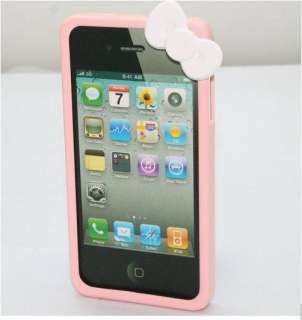New Cute Bowknot Bumper Frame Hello Kitty Skin Case Cover For iPhone 4