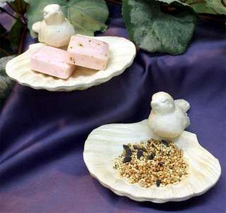 SOAP DISH Antique White Cast Iron, Seashell, Bird Qty 2