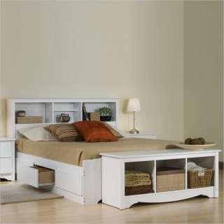 Monterey White Double / Full Bookcase Platform Storage Bed [241163