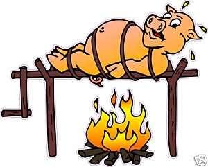 BBQ Barbeque Pork Pig Restaurant Food Sign Decal 24