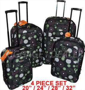 Piece Set Luggage Rolling Wheeled Color CIRCLES Hard Back Expandable