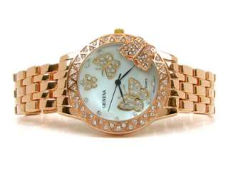 ROSE/GOLD 3D Butterfly Dial Crystal Bezel Designer Style Womens WATCH