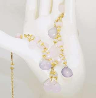 20K GF Rose Quartz Periwinkle Chalcedony Charm Bracelet