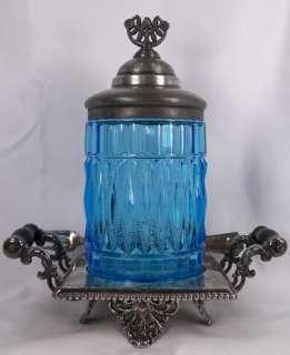 Victorian Blue Wards New Era Pickle Castor w Silver Plate Frame & Fork