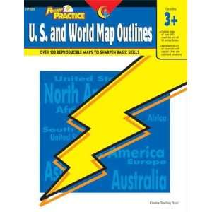 Power Practice: U.S. and World Map Outlines, Gr. 3 & up: Mapping