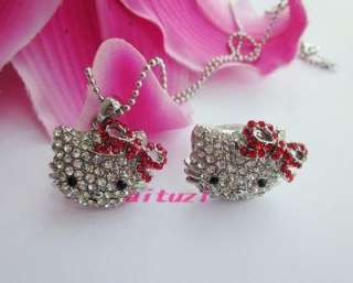 cute hello kitty crystal red bow pendant necklace ring set best gift