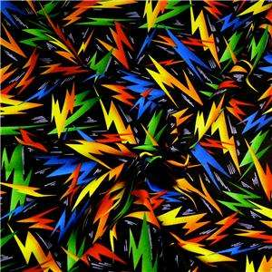 FabriQuilt Cotton Fabric Bright Yellow, Orange, Blue, Green Jagged on