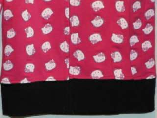 New Girls HELLO KITTY Light Weight Pink w/ Black Hoodie Sweater