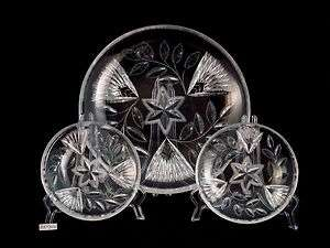 American Brilliant ABP Cut Glass Crystal Salad Dessert Set Plate