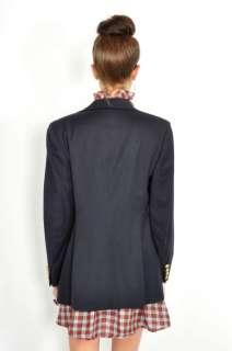 Vtg 80s Navy RALPH LAUREN PREPPY Military Wool BLAZER Boyfriend Jacket