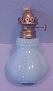 Blue Milk Glass MINIATURE LAMP with MATCHING SHADE & P&A Acorn Burner