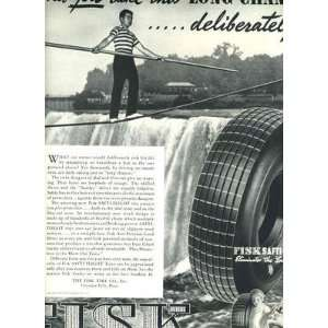FISK Tire Tight Rope Walking Full Page Magazine Ad 1938