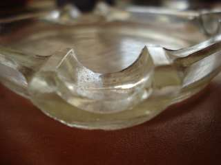 OLD CLEAR DEPRESSION GLASS ASHTRAY ACROPOLIS ASHTRAY 4 1/2