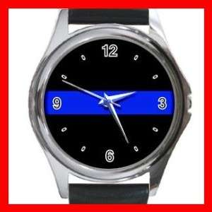 Thin Blue Line Police Officer Law Round Metal Watch New