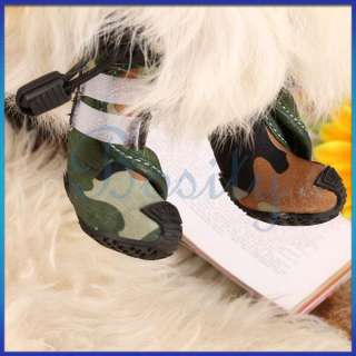 Dog Cat Boots Shoes Green Camo Camouflage Look Dirt Water Snow Protect