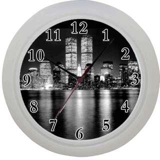 Framed Wall Clock New York Skyline Twin Towers night scene Room