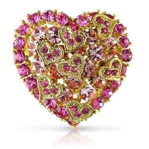 STUNNING 18K GOLD OVERLAY PINK CRYSTALS HEART BROOCH UK  XMAS GIFT