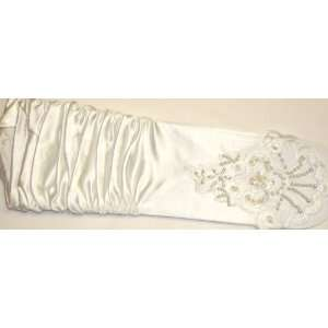 11 Inch Shiny White Color Spandex Fingerless Opera Wedding Prom Gloves