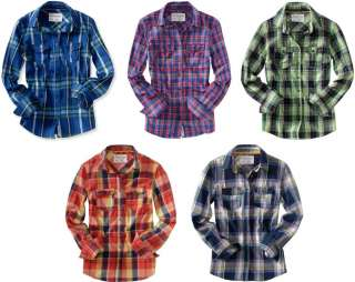 Aeropostale AERO womens girls woven plaid long sleeve shirts XS,S,M,L