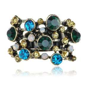 Tone Vintage Inspired Colorful Topaz Cluster Crystal Rhinestone Ring