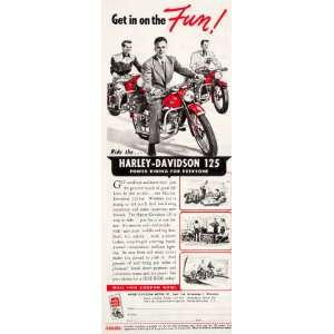 1950 Ad Harley Davidson 125 Motorcycle Milwaukee Ride Road Travel