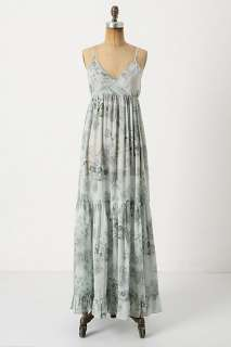 NWT ANTHROPOLOGIE PORRIDGE VALENCE CHEMISE LONG BLUE MAXI DRESS Small