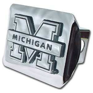 com University of Michigan Wolverines Bright Polished Chrome with M