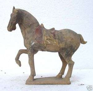 41 43 Super Chinese Painted Pottery war Horse Statue