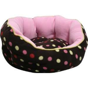 Retro Design Polka Dots Soft Cuddle Round Dog Bed for