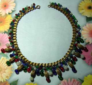 Red Green Blue White Glass Bookchain Necklace Miriam Haskell ?