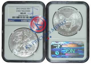 2012 American Silver Eagle $1 NGC MS69 MS 69 Early Releases (Blue