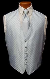 Mens Light Blue Fusion Fullback Vest & Long Tie Tuxedo Wedding Prom