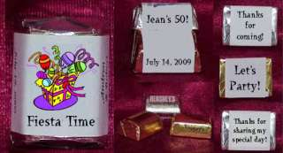Fiesta Personalized Candy Wrappers Birthday Party Favors