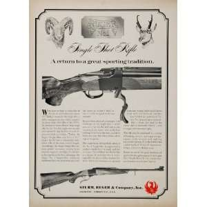 1967 Ad Sturm Ruger Single Shot Rifle Bighorn Sheep Gun