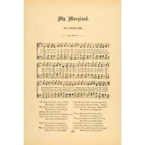 1894 My Maryland State Song Civil War Jason R. Randall