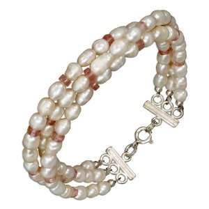 Sterling Silver 8 inch Triple Strand Rose Quartz and Pearl