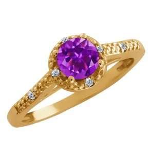 0.48 Ct Round Purple Amethyst and White Diamond 14k Yellow