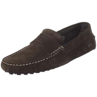 Lacoste Mens Concours Dark Brown Suede Loafers Shoes
