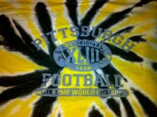 Tye tie dye Pittsburgh Black Gold Steelers football shirt 2XL XXL 3XL