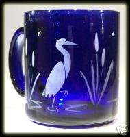 Great Blue Heron Egret Art Coffee Tea Cobalt Glass Mug