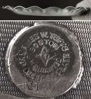 Antique Victorian Tufts SilverPlate Tray Sailboat